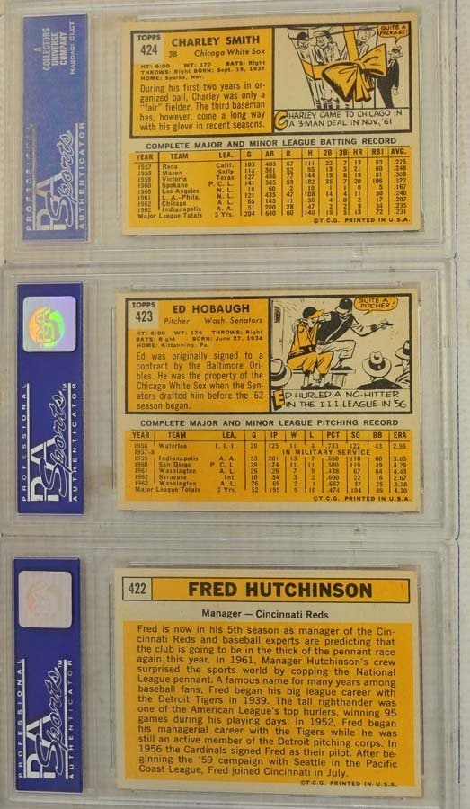 10  1963 Topps Baseball Cards PSA Graded 8 - 4