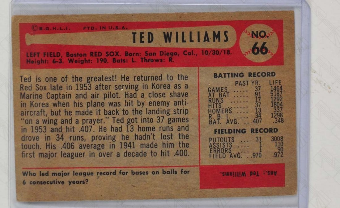 1954 Bowman Ted Williams - 2