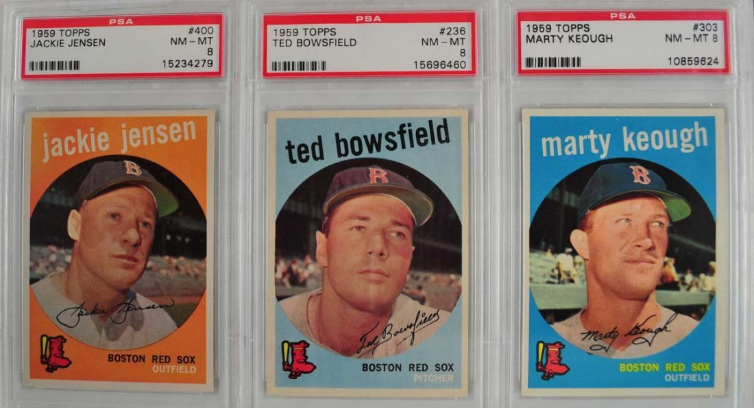 10 1959 Topps Baseball Cards PSA 8