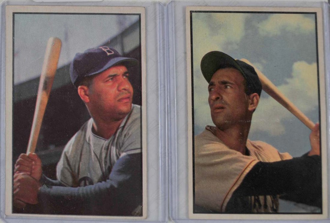 Two 1953 Bowman Color Campanella and Abrams