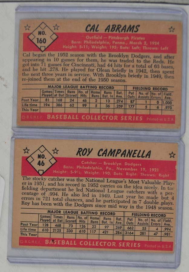 Two 1953 Bowman Color Campanella and Abrams - 2