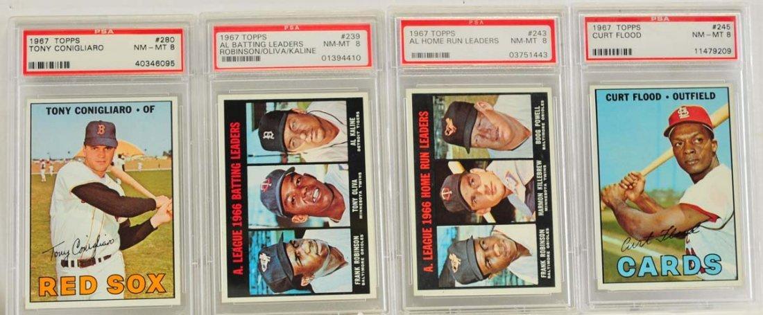 4 1967 Topps PSA 8 Graded Cards