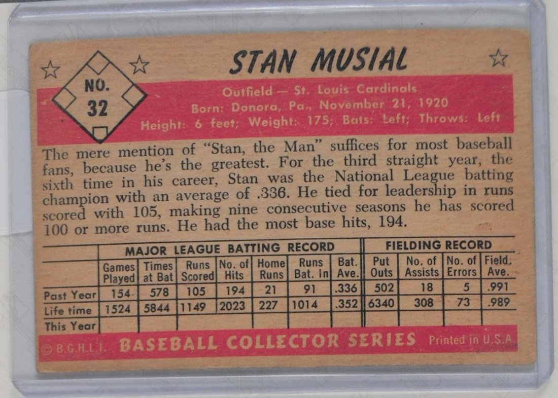 1953 Bowman Color Stan Musial - 2