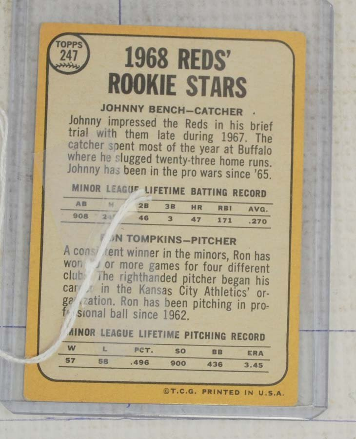 1968 Topps Johnny Bench Rookie - 2