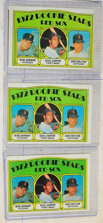 Three 1972 Carlton Fisk Rookie Cards