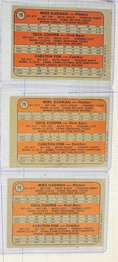 Three 1972 Carlton Fisk Rookie Cards - 2