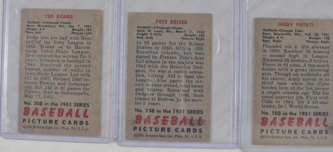 Five 1951 Bowman Mid Grade Baseball Cards - 2