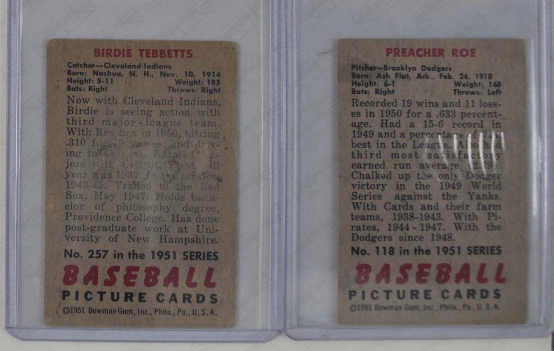 Five 1951 Bowman Mid Grade Baseball Cards - 4