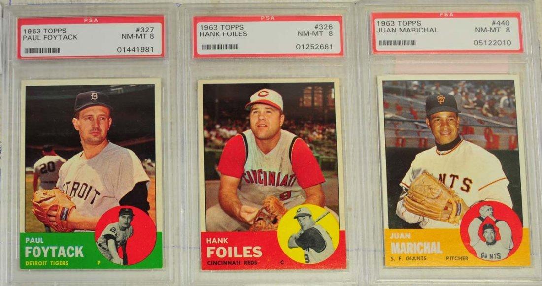 8 1963 Topps Baseball Cards PSA Graded 8 - 4