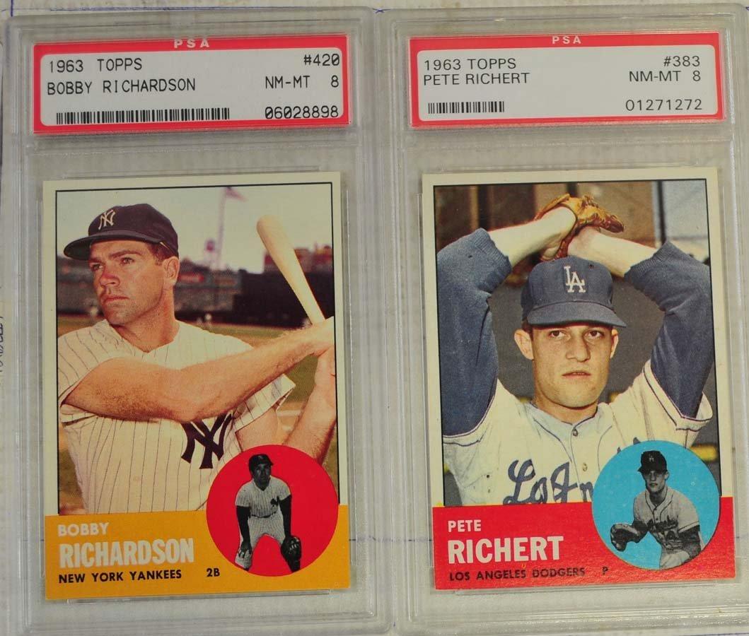 8 1963 Topps Baseball Cards PSA Graded 8 - 6