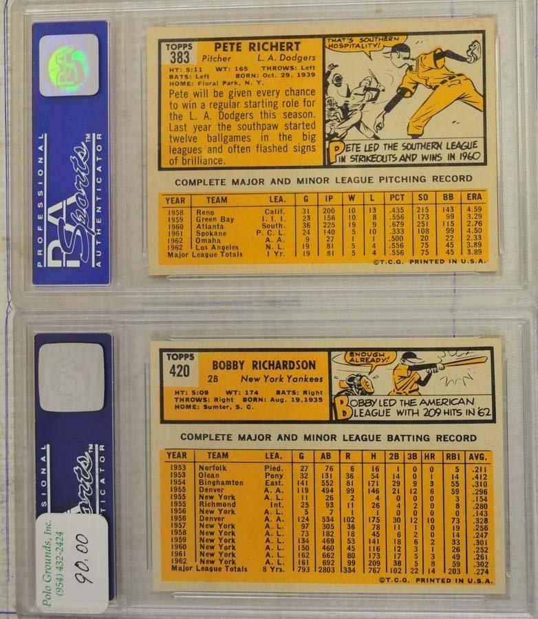 8 1963 Topps Baseball Cards PSA Graded 8 - 7