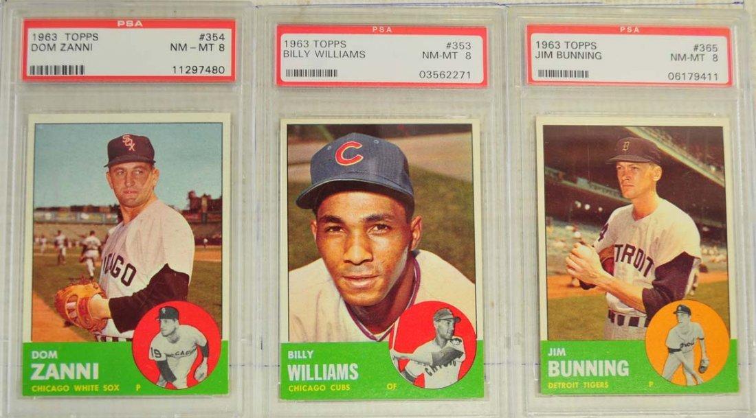 7 1963 Topps Baseball Cards PSA Graded 8