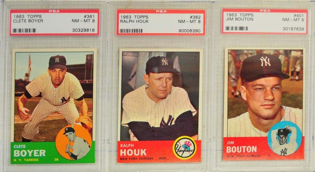 7 1963 Topps Baseball Cards PSA Graded 8 - 3