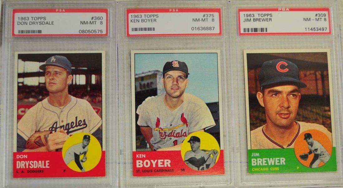 8 1963 Topps Baseball Cards PSA Graded 8