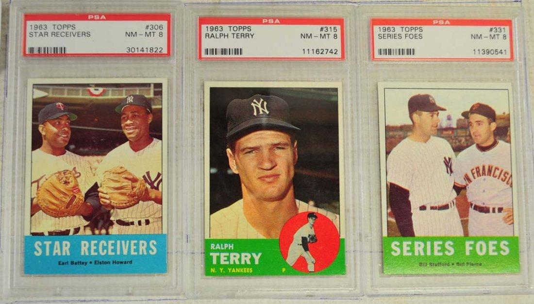 8 1963 Topps Baseball Cards PSA Graded 8 - 3