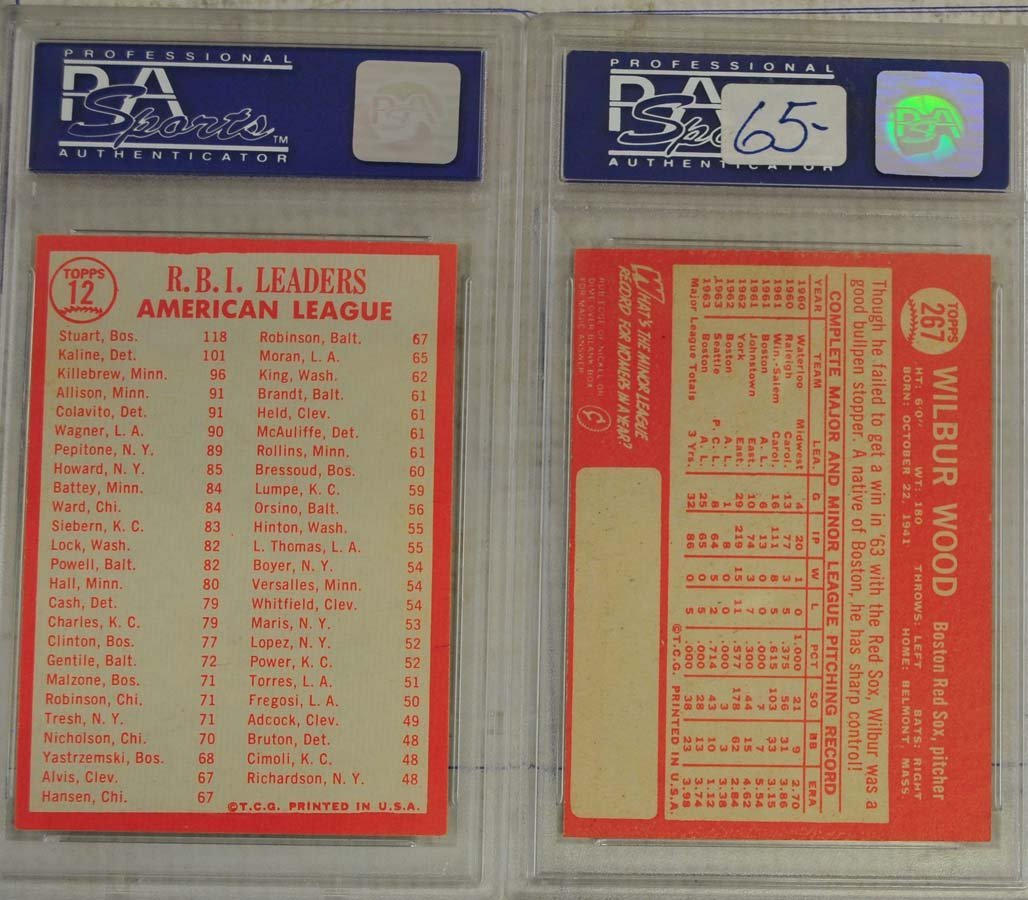 4 1964 Topps Baseball Cards PSA Graded 9/8 - 2
