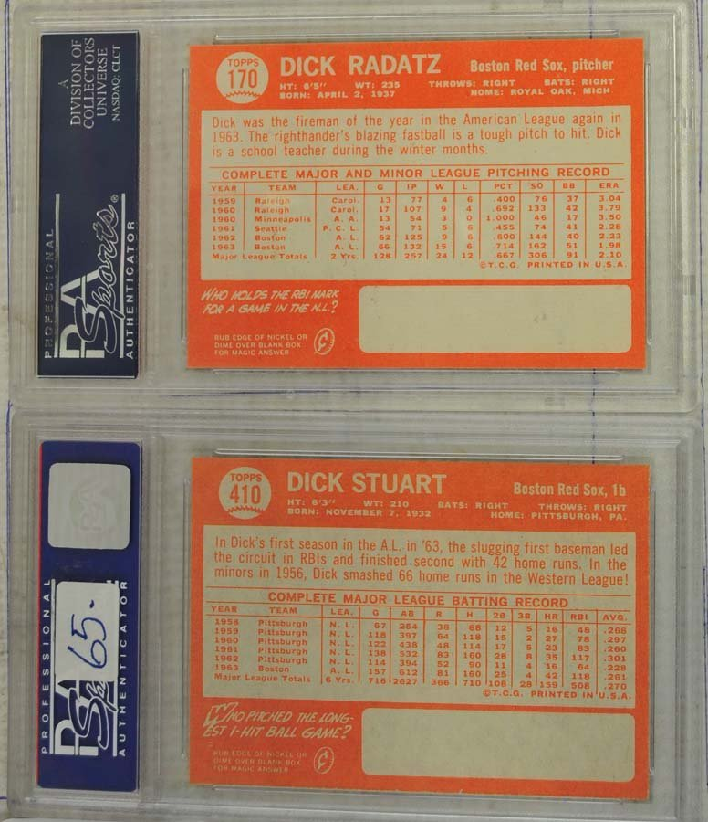 4 1964 Topps Baseball Cards PSA Graded 9/8 - 4
