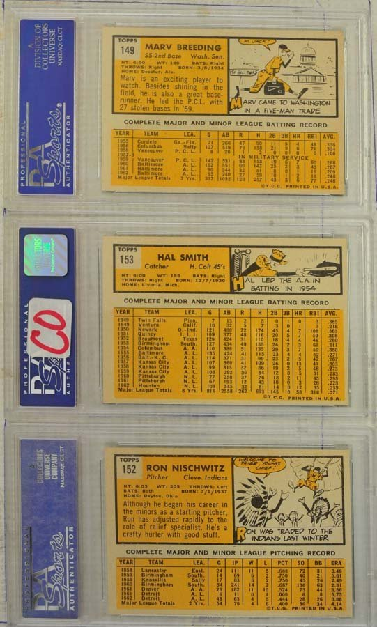 10  1963 Topps Baseball Cards PSA Graded 8 - 2