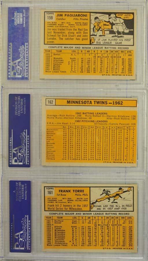 10  1963 Topps Baseball Cards PSA Graded 8 - 4