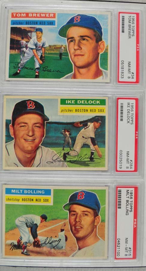 Three 1956 Topps Baseball Cards PSA 8