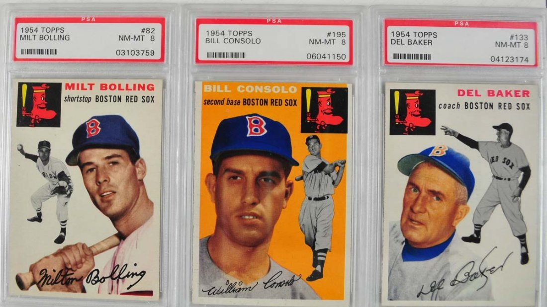6 1954 Topps Baseball Cards PSA Graded 8 - 3