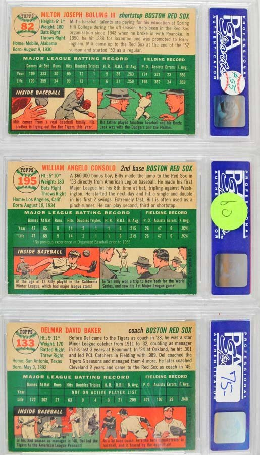 6 1954 Topps Baseball Cards PSA Graded 8 - 4
