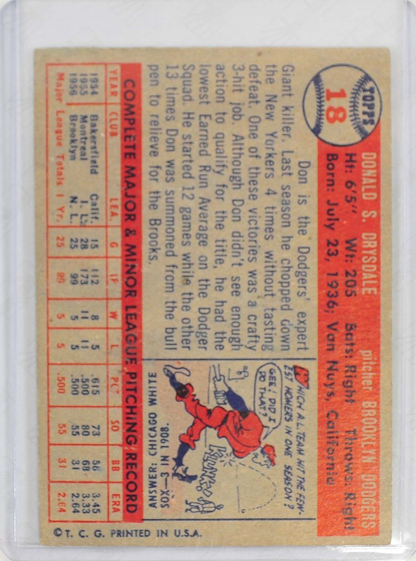 1957 Topps Don Drysdale Rookie Card - 2