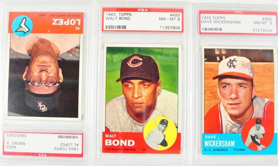 20 1963 Topps Baseball Cards PSA Graded 8 - 3
