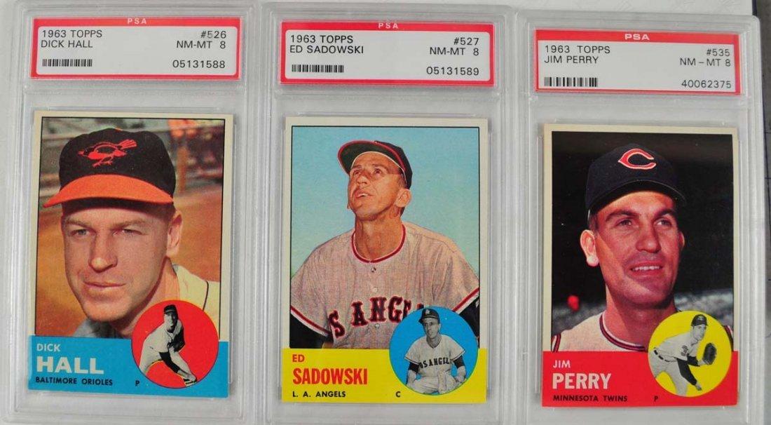 20 1963 Topps Baseball Cards PSA Graded 8 - 9