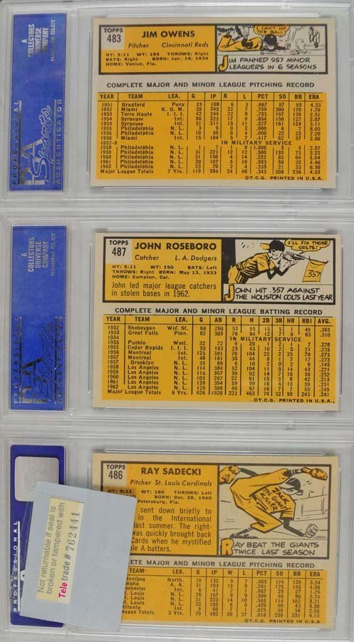 20 1963 Topps Baseball Cards PSA Graded 8 - 10
