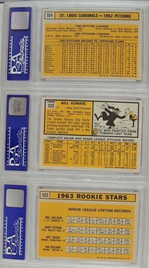 20 1963 Topps Baseball Cards PSA Graded 8 - 2