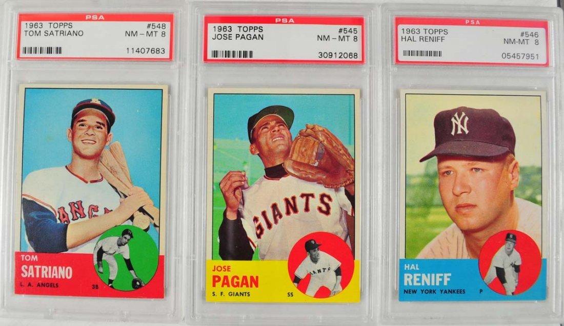 20 1963 Topps Baseball Cards PSA Graded 8 - 7
