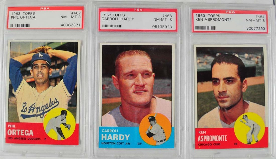20 1963 Topps Baseball Cards PSA Graded 8