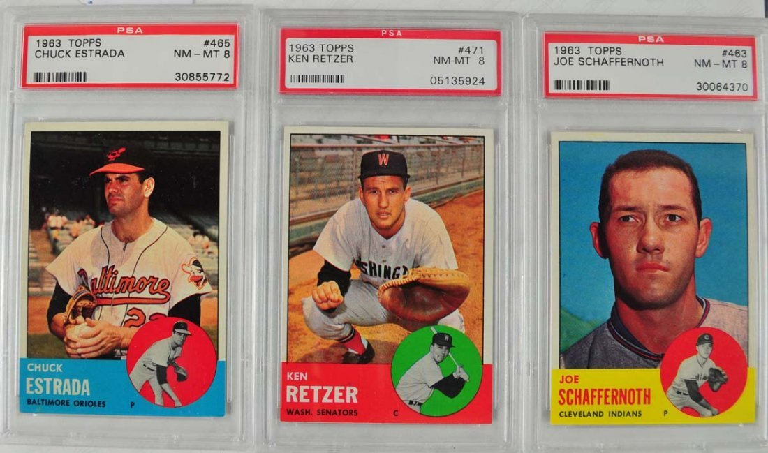 20 1963 Topps Baseball Cards PSA Graded 8 - 3