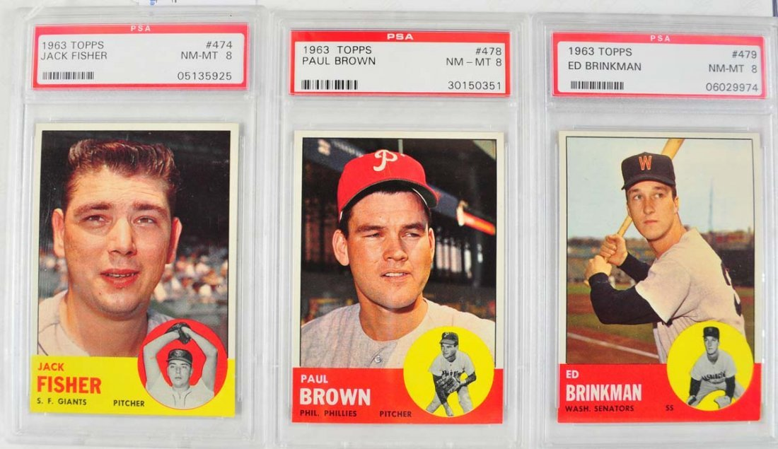 20 1963 Topps Baseball Cards PSA Graded 8 - 6