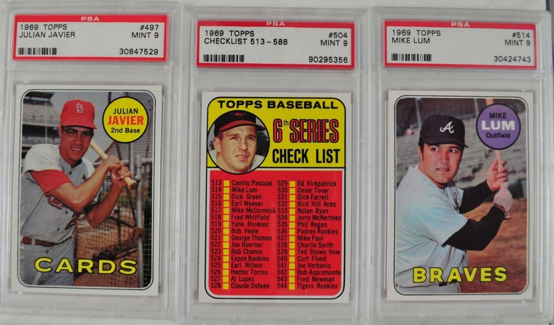 10 1969 Topps Baseball Cards PSA Graded Mint 9 - 5