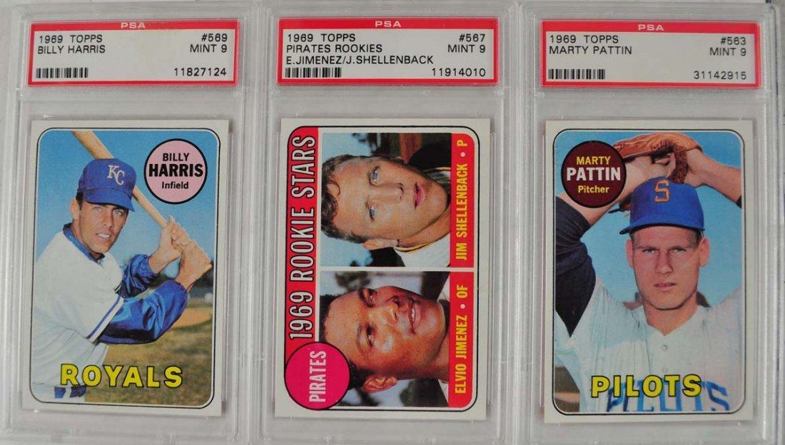 10 1969 Topps Baseball Cards PSA Graded Mint 9 - 5