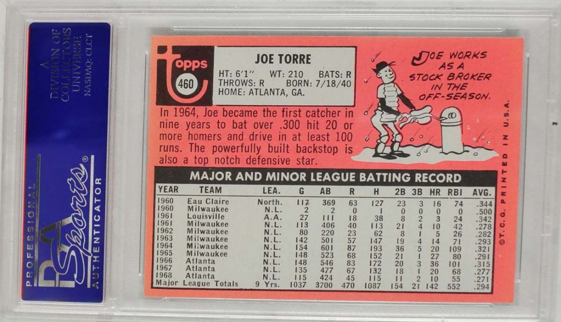 1969 Topps Joe Torre PSA Graded Mint 9 - 2