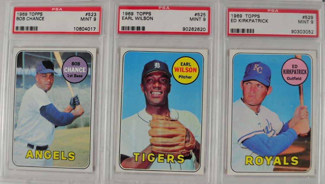 9 1969 Topps Baseball Cards PSA Graded Mint 9