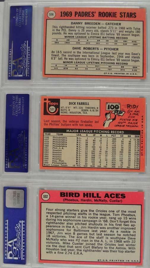 9 1969 Topps Baseball Cards PSA Graded Mint 9 - 4