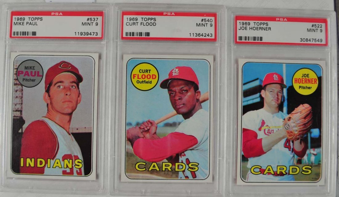9 1969 Topps Baseball Cards PSA Graded Mint 9 - 5