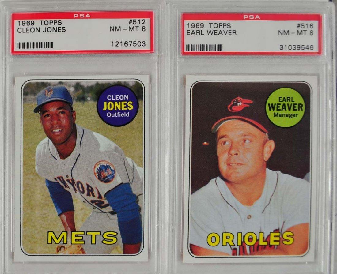 14 1969 Topps Baseball Cards PSA Graded 8 - 9