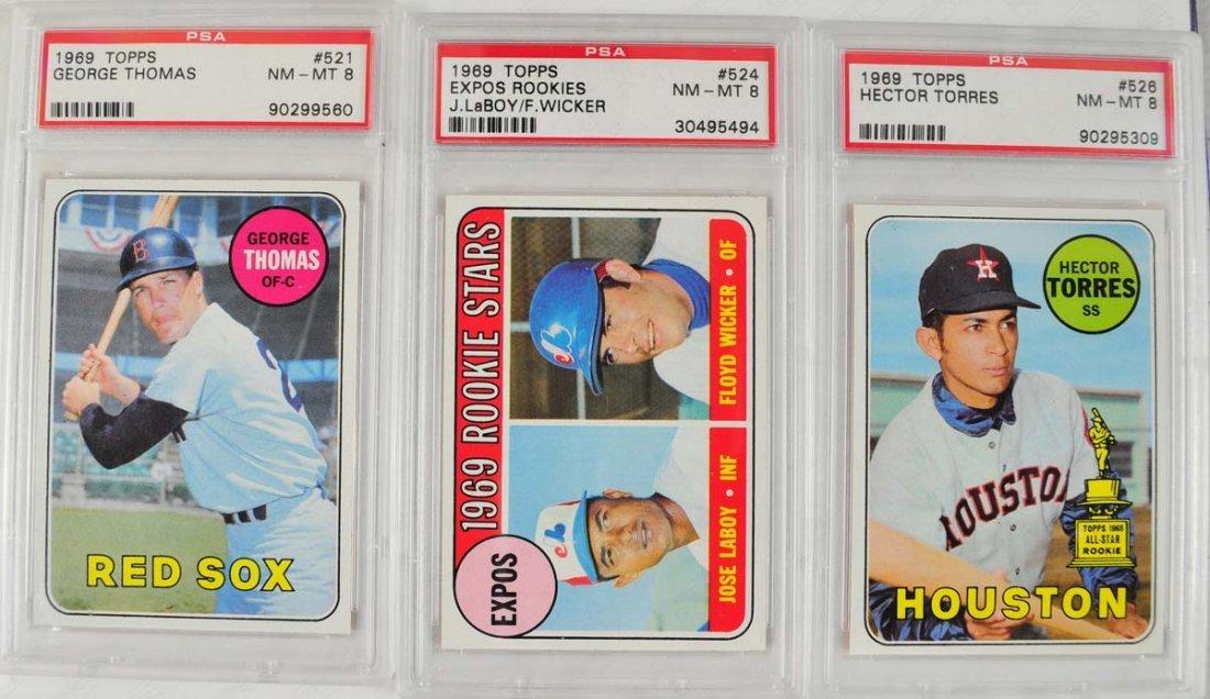 22 1969 Topps Baseball Cards PSA Graded 8