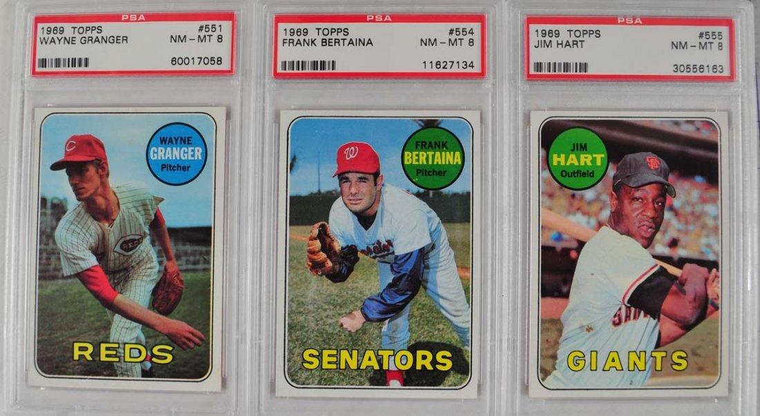 22 1969 Topps Baseball Cards PSA Graded 8 - 9