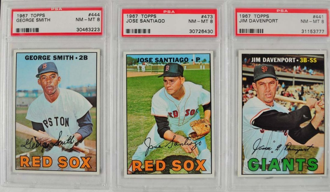16 1967 Topps Baseball Cards PSA Graded 8