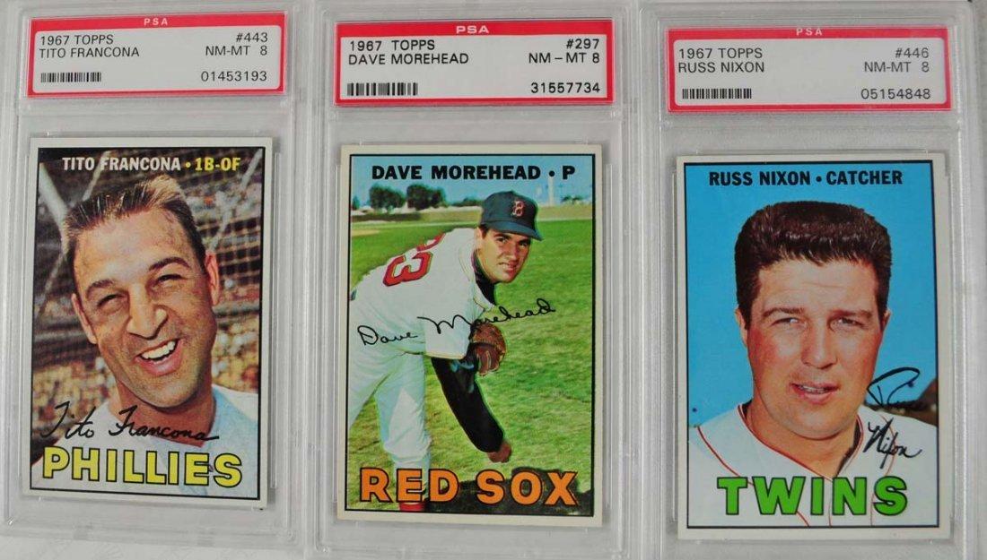 16 1967 Topps Baseball Cards PSA Graded 8 - 3