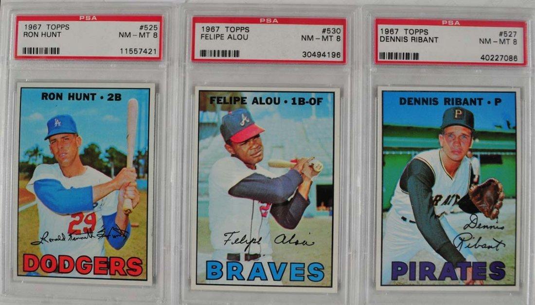 16 1967 Topps Baseball Cards PSA Graded 8 - 7