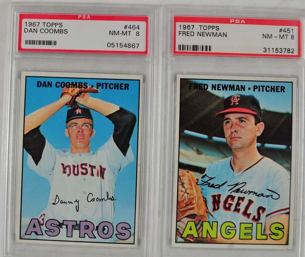16 1967 Topps Baseball Cards PSA Graded 8 - 9
