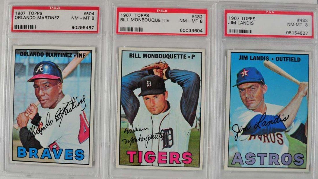 17 1967 Topps Baseball Cards PSA Graded 8 - 10