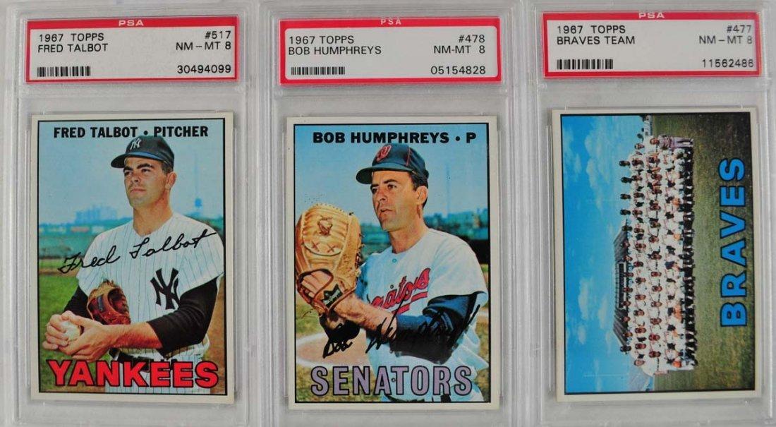 17 1967 Topps Baseball Cards PSA Graded 8